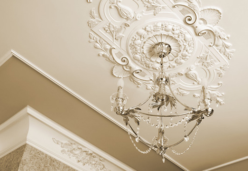 Chandelier and Ceiling Medallion Installation
